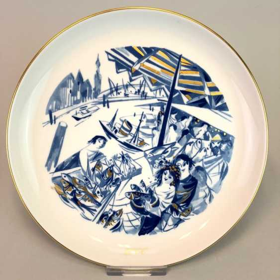 Institutional / wall plate: Meissen porcelain, on view in Hamburg's fish market and Gold adorns, very good. - photo 1