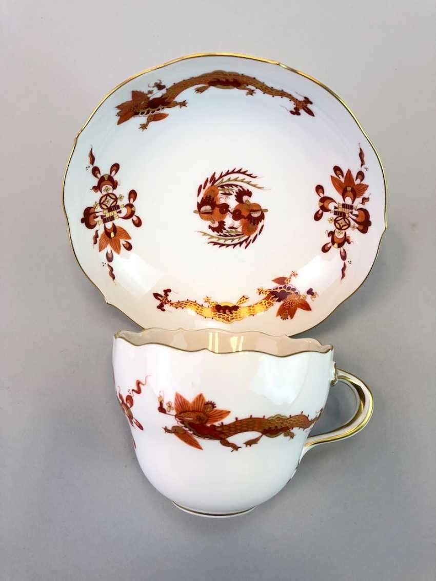 Coffee and cake: Meissen porcelain, Dresden Hofdrache in Red with Gold, very good. - photo 1