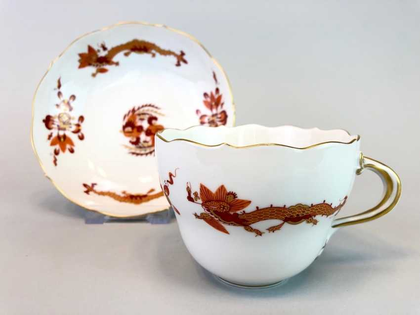 Coffee and cake: Meissen porcelain, Dresden Hofdrache in Red with Gold, very good. - photo 2