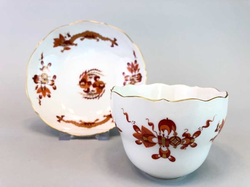 Coffee and cake: Meissen porcelain, Dresden Hofdrache in Red with Gold, very good. - photo 3