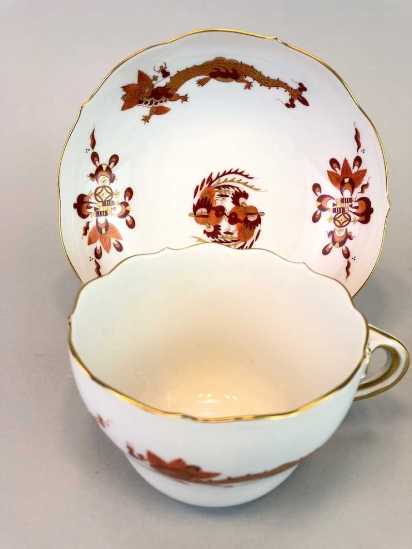 Coffee and cake: Meissen porcelain, Dresden Hofdrache in Red with Gold, very good. - photo 4