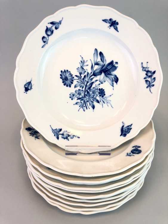 Twelve Of The Plates: Meissen Porcelain. Decor German flower in Blue. in order to 1860. - photo 1