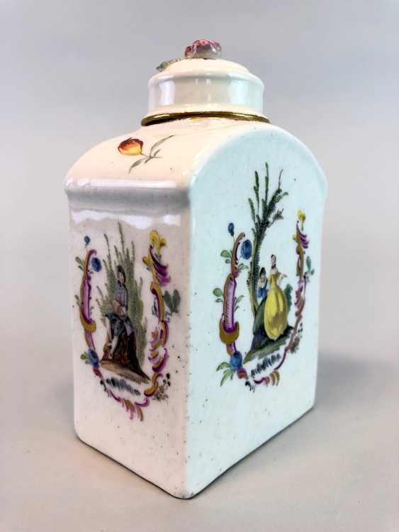 Early and rare tea caddy: Watteau painting, 1740 - photo 1