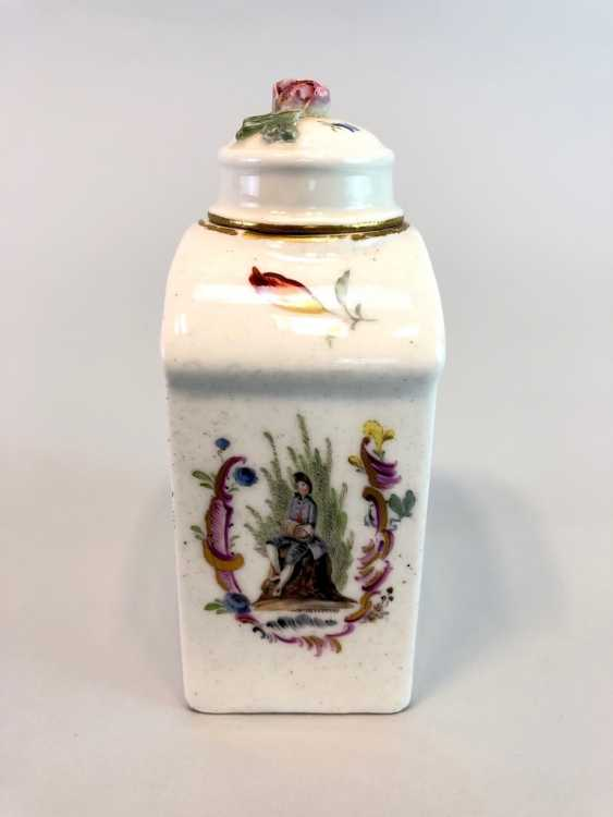 Early and rare tea caddy: Watteau painting, 1740 - photo 4