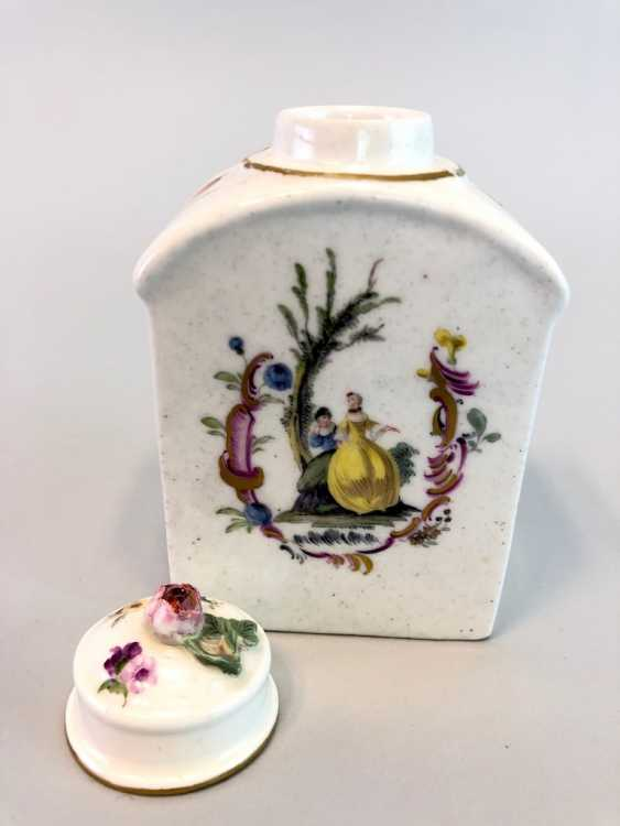 Early and rare tea caddy: Watteau painting, 1740 - photo 6
