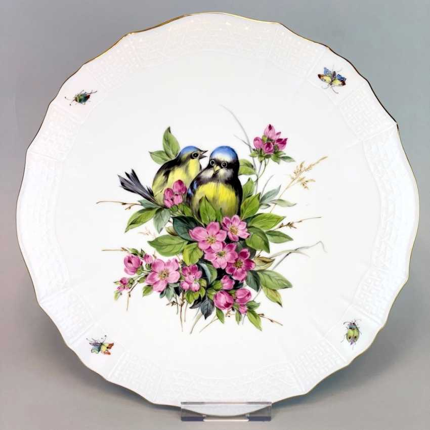 Institutional / Wall Plate: Meissen Porcelain Adorns. Decor, blue Tits and Red roses, Gold, very good. - photo 1