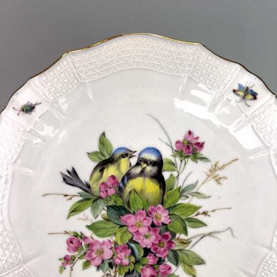 Institutional / Wall Plate: Meissen Porcelain Adorns. Decor, blue Tits and Red roses, Gold, very good. - photo 2