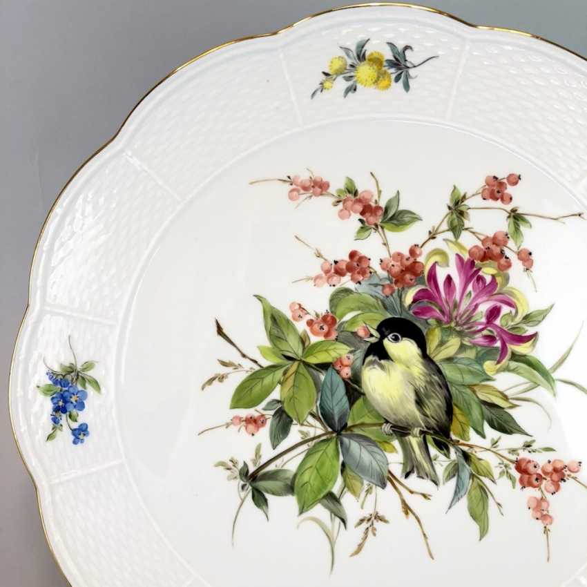 Institutional / Wall Plate: Meissen Porcelain Adorns. Decor great tit with flowers and fruits, Gold, very good. - photo 2