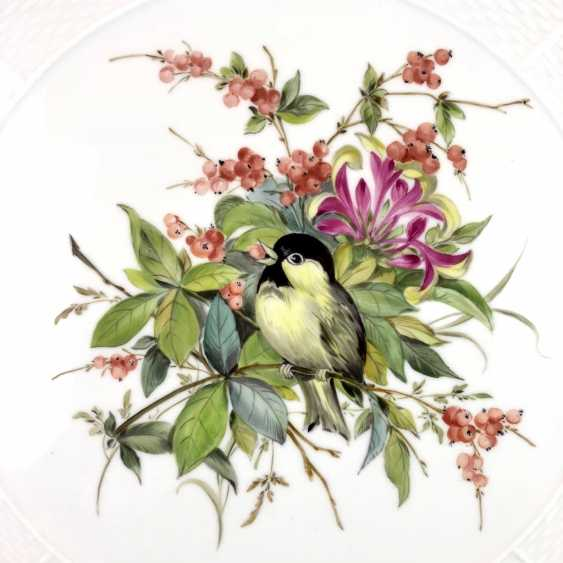 Institutional / Wall Plate: Meissen Porcelain Adorns. Decor great tit with flowers and fruits, Gold, very good. - photo 3