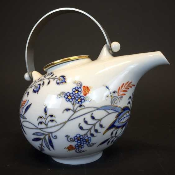 Teapot: Meissen porcelain onion pattern in Gold and Red equipped, very good and very rare. - photo 1