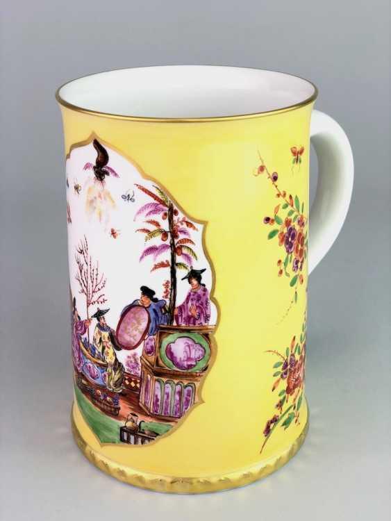 Exceptional rolls, mug / tankard: Meissen porcelain, Johann Georg Hörold, Chinoiserien, gold ornaments, very good. - photo 1