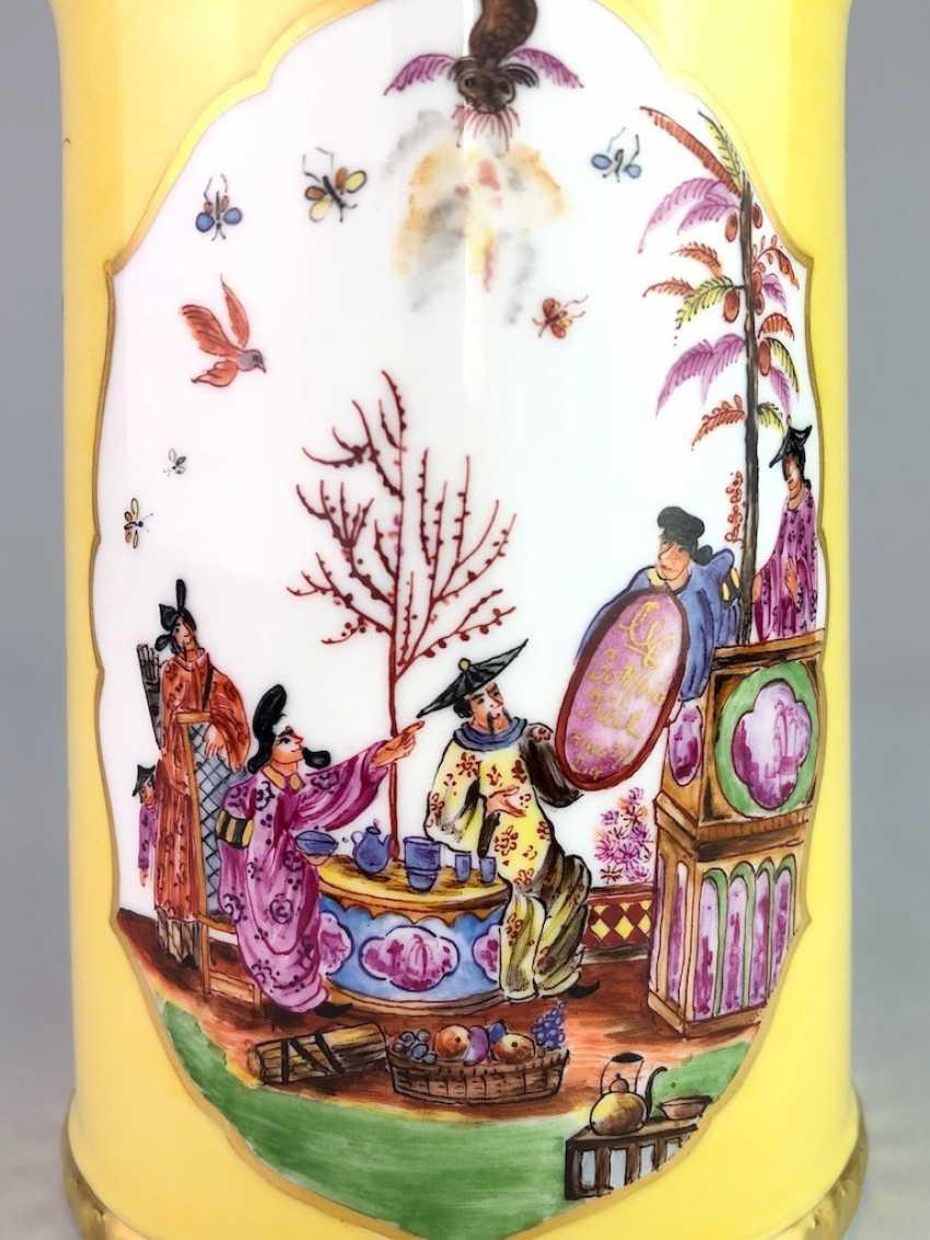 Exceptional rolls, mug / tankard: Meissen porcelain, Johann Georg Hörold, Chinoiserien, gold ornaments, very good. - photo 2