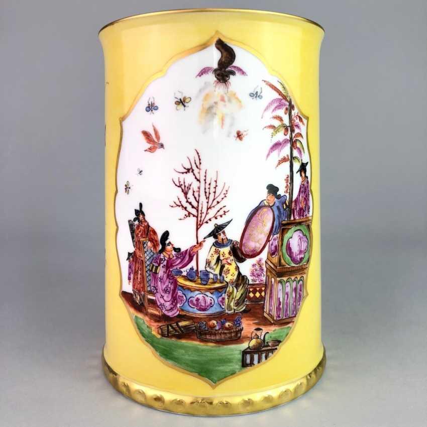 Exceptional rolls, mug / tankard: Meissen porcelain, Johann Georg Hörold, Chinoiserien, gold ornaments, very good. - photo 5