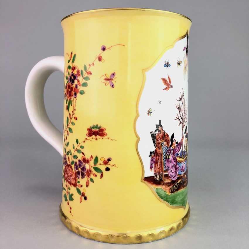 Exceptional rolls, mug / tankard: Meissen porcelain, Johann Georg Hörold, Chinoiserien, gold ornaments, very good. - photo 6