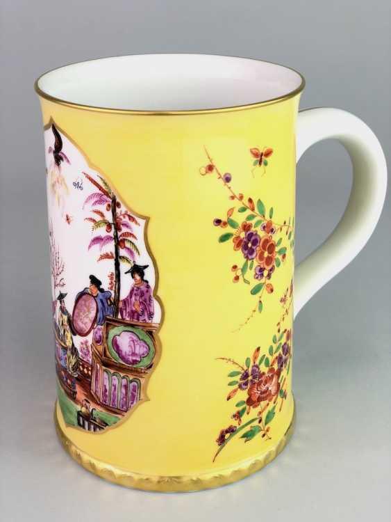 Exceptional rolls, mug / tankard: Meissen porcelain, Johann Georg Hörold, Chinoiserien, gold ornaments, very good. - photo 8