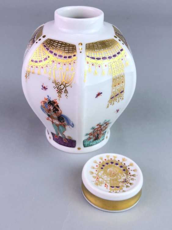 Tea caddy with lid: Meissen porcelain 1001 Arabian nights, gold plated, gold ornaments, Prof. Heinz Werner, very good. - photo 4