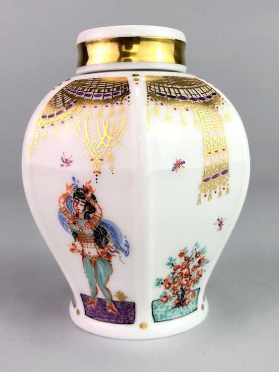 Tea caddy with lid: Meissen porcelain 1001 Arabian nights, gold plated, gold ornaments, Prof. Heinz Werner, very good. - photo 5
