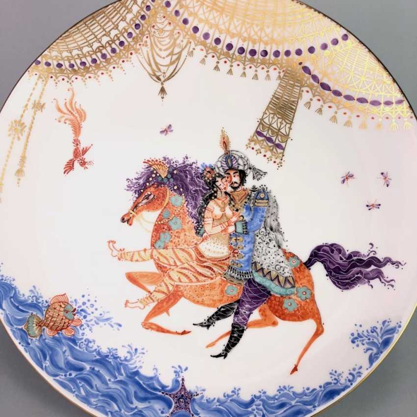 Plate / wall plate: Meissen porcelain 1001 Arabian nights, gold plated, gold ornaments, Prof. Heinz Werner, very good. - photo 2