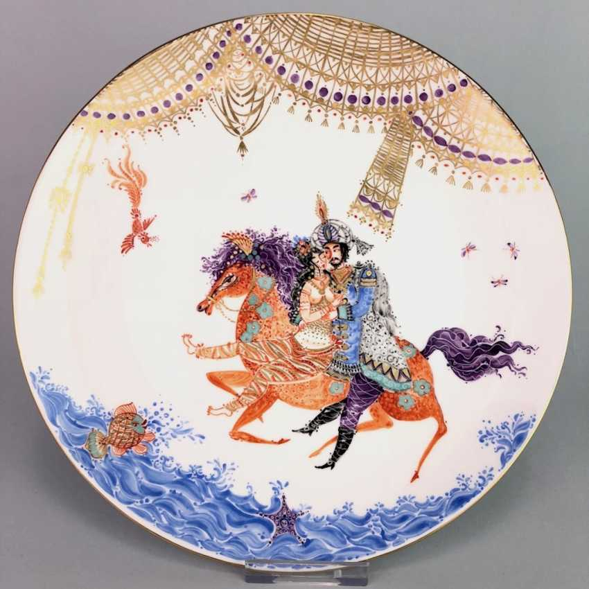 Plate / wall plate: Meissen porcelain 1001 Arabian nights, gold plated, gold ornaments, Prof. Heinz Werner, very good. - photo 3