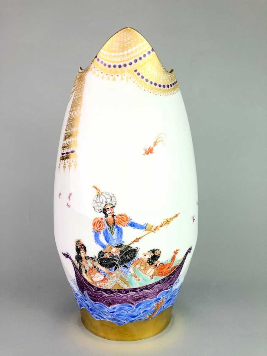Exceptional & large Vase: Meissen porcelain 1001 Arabian nights, gold plated, gold ornaments, Prof. Heinz Werner, very good - photo 1