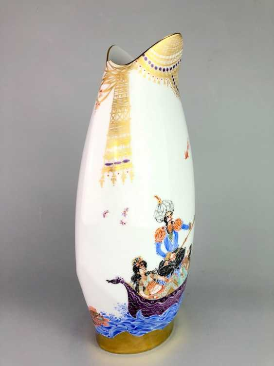 Exceptional & large Vase: Meissen porcelain 1001 Arabian nights, gold plated, gold ornaments, Prof. Heinz Werner, very good - photo 2