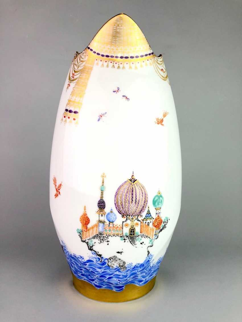 Exceptional & large Vase: Meissen porcelain 1001 Arabian nights, gold plated, gold ornaments, Prof. Heinz Werner, very good - photo 3