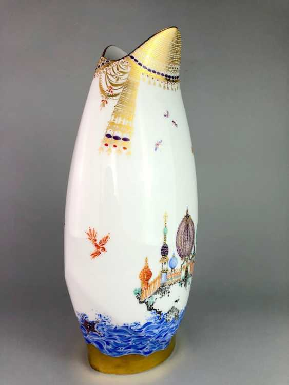 Exceptional & large Vase: Meissen porcelain 1001 Arabian nights, gold plated, gold ornaments, Prof. Heinz Werner, very good - photo 4