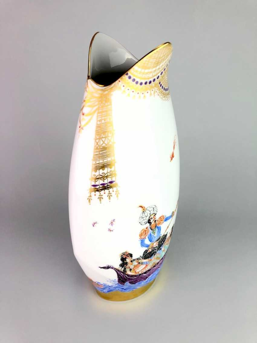 Exceptional & large Vase: Meissen porcelain 1001 Arabian nights, gold plated, gold ornaments, Prof. Heinz Werner, very good - photo 6