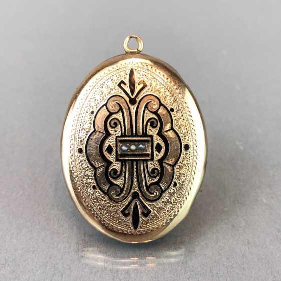 "Extraordinary Medallion / pendant: Porcelain enamel, engraving ""view of the Wartburg chased,"". Yellow gold, 19. Century - photo 1"