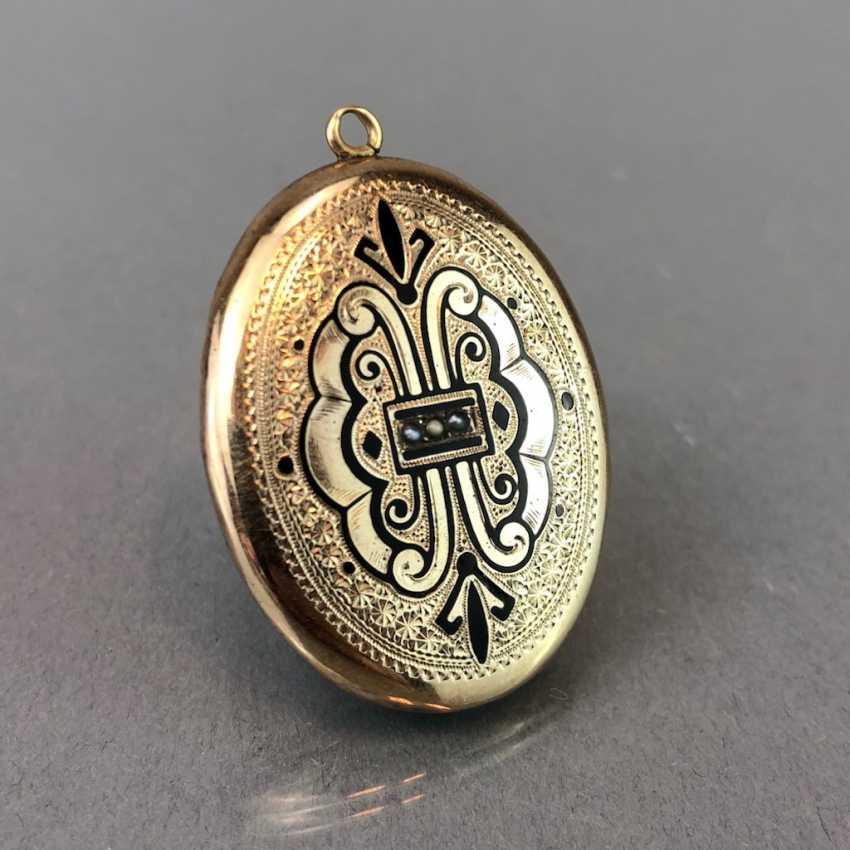 "Extraordinary Medallion / pendant: Porcelain enamel, engraving ""view of the Wartburg chased,"". Yellow gold, 19. Century - photo 2"
