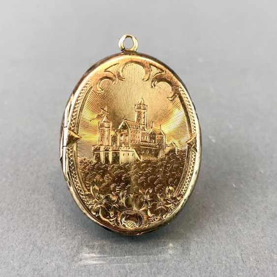 "Extraordinary Medallion / pendant: Porcelain enamel, engraving ""view of the Wartburg chased,"". Yellow gold, 19. Century - photo 4"