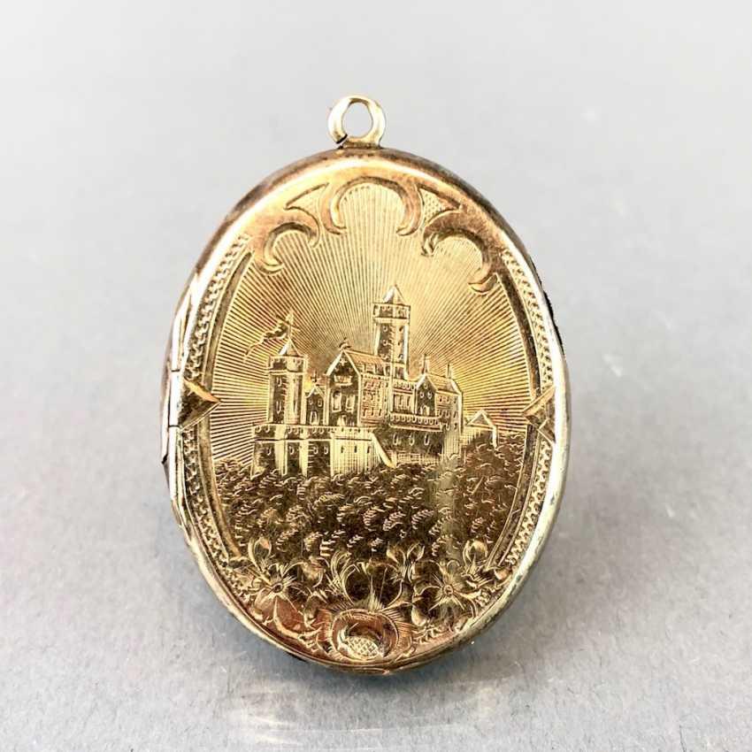 "Extraordinary Medallion / pendant: Porcelain enamel, engraving ""view of the Wartburg chased,"". Yellow gold, 19. Century - photo 5"