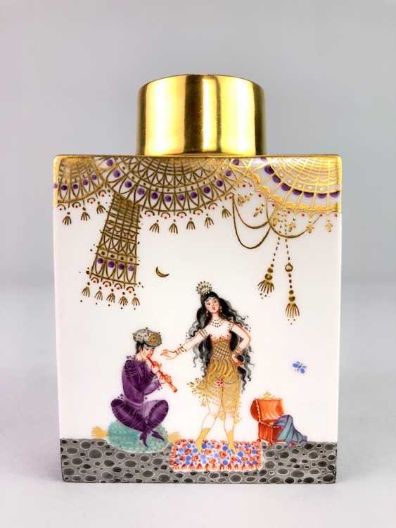 Rectangular tea caddy with lid: Meissen porcelain 1001 Arabian nights, gold plated, gold ornaments, Prof. Heinz Werner, very good - photo 2