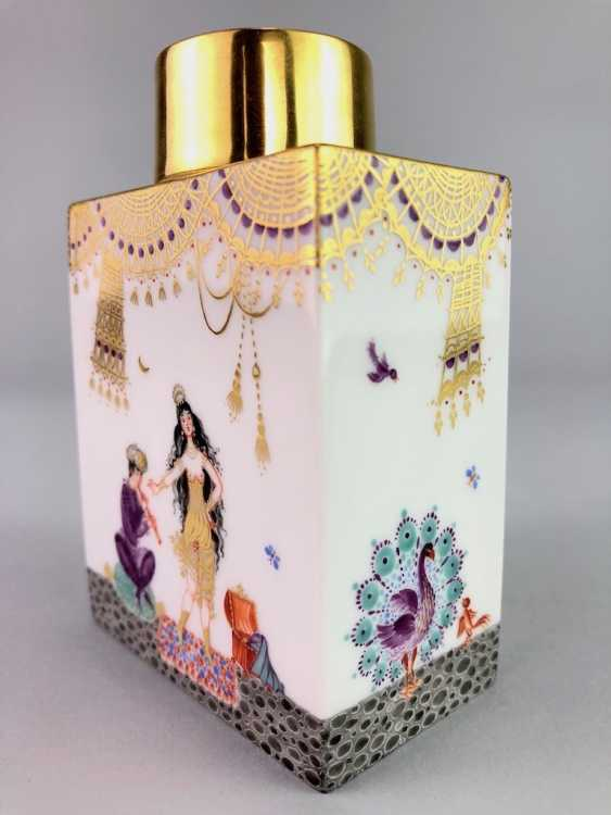 Rectangular tea caddy with lid: Meissen porcelain 1001 Arabian nights, gold plated, gold ornaments, Prof. Heinz Werner, very good - photo 3