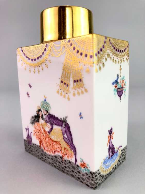 Rectangular tea caddy with lid: Meissen porcelain 1001 Arabian nights, gold plated, gold ornaments, Prof. Heinz Werner, very good - photo 4