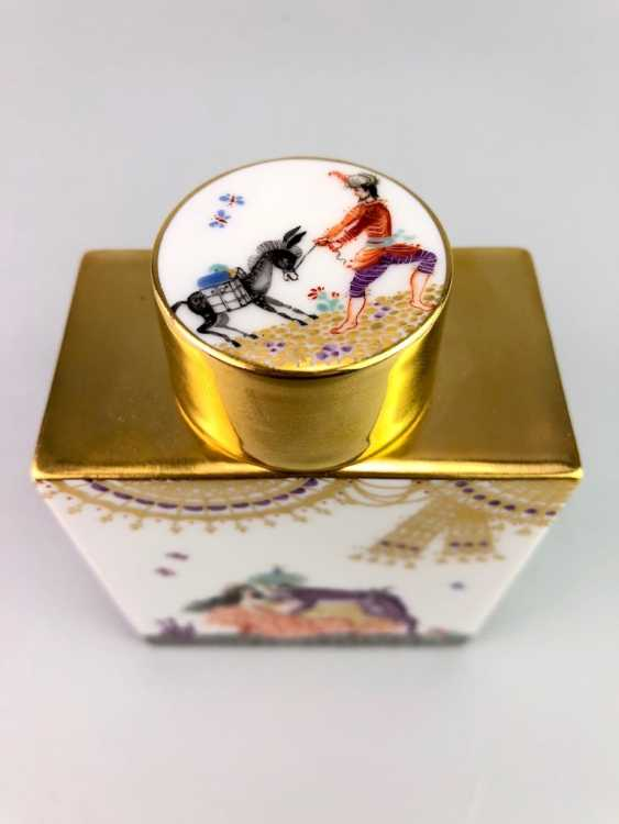Rectangular tea caddy with lid: Meissen porcelain 1001 Arabian nights, gold plated, gold ornaments, Prof. Heinz Werner, very good - photo 5