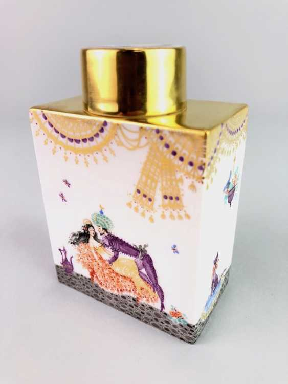 Rectangular tea caddy with lid: Meissen porcelain 1001 Arabian nights, gold plated, gold ornaments, Prof. Heinz Werner, very good - photo 6