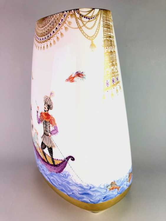 Very large Vase / fireplace vase: Meissen porcelain 1001 Arabian nights, Gold decorated, 46 cm. Prof. Heinz Werner, very good. - photo 4