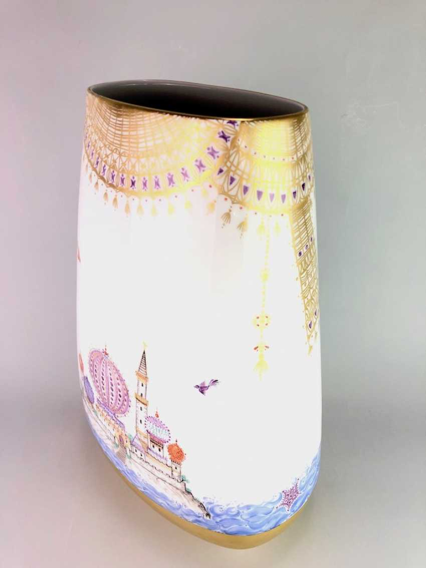 Very large Vase / fireplace vase: Meissen porcelain 1001 Arabian nights, Gold decorated, 46 cm. Prof. Heinz Werner, very good. - photo 6