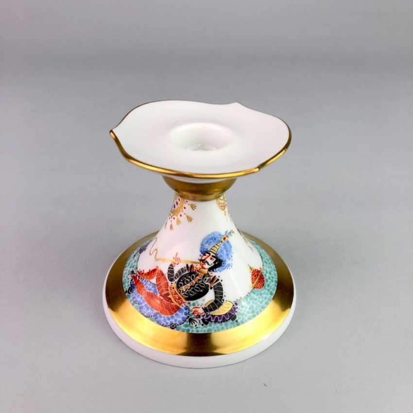 Candlesticks: Meissen porcelain 1001 Arabian nights, gold plated, gold ornaments, Prof. Heinz Werner, very good. - photo 5