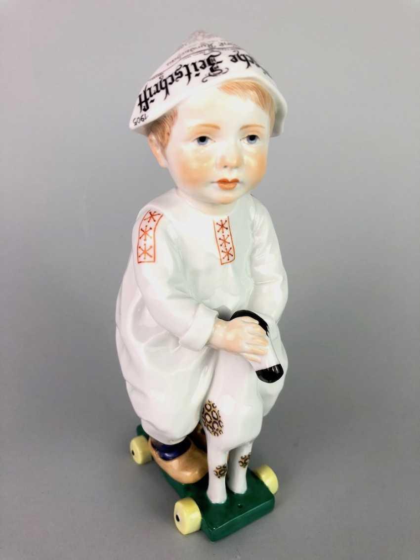 "Porcelain figurine: Hentschel child - ""child on a wooden horse riding"". Meissen Porcelain, 1. Choice, very well. - photo 1"