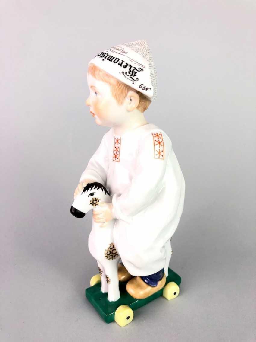 "Porcelain figurine: Hentschel child - ""child on a wooden horse riding"". Meissen Porcelain, 1. Choice, very well. - photo 2"