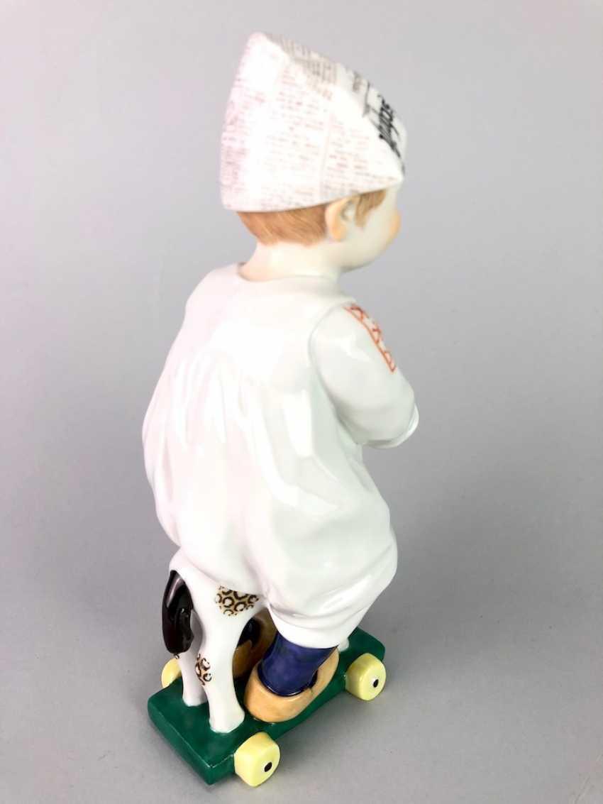 "Porcelain figurine: Hentschel child - ""child on a wooden horse riding"". Meissen Porcelain, 1. Choice, very well. - photo 4"