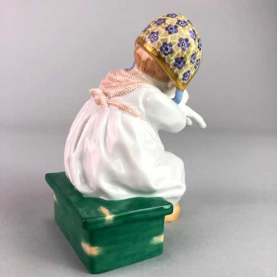 """Porcelain figurine: Hentschel child - """"child with cat in Arm"""". Meissen Porcelain, 1. Choice, very well. - photo 5"""