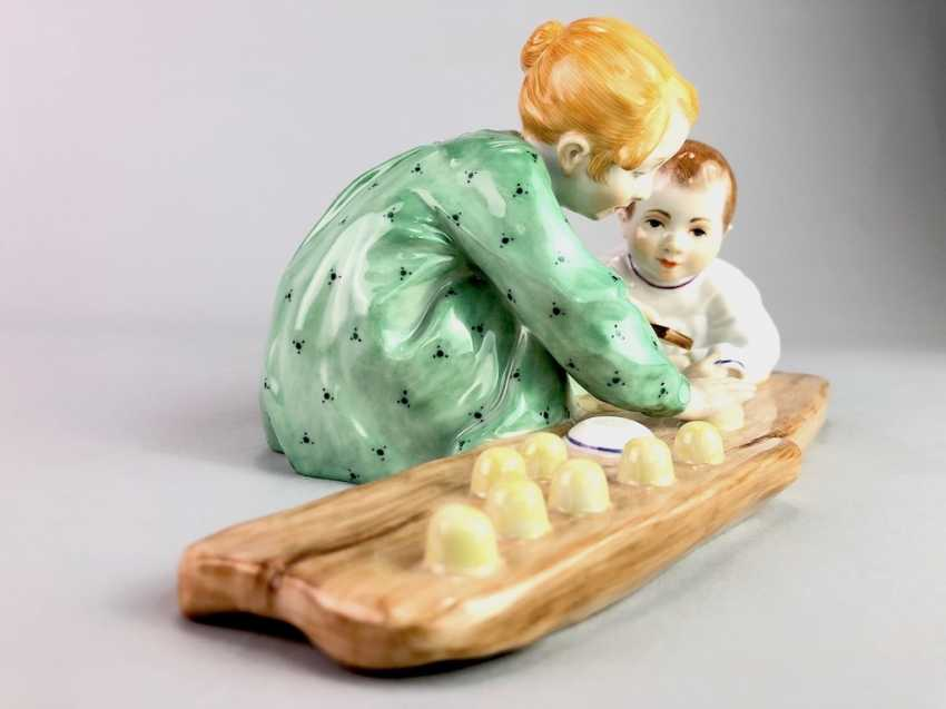 "Porcelain figurine: Hentschel child - ""Two children, sand forms the backend"". Meissen Porcelain, 1. Choice, very well. - photo 3"