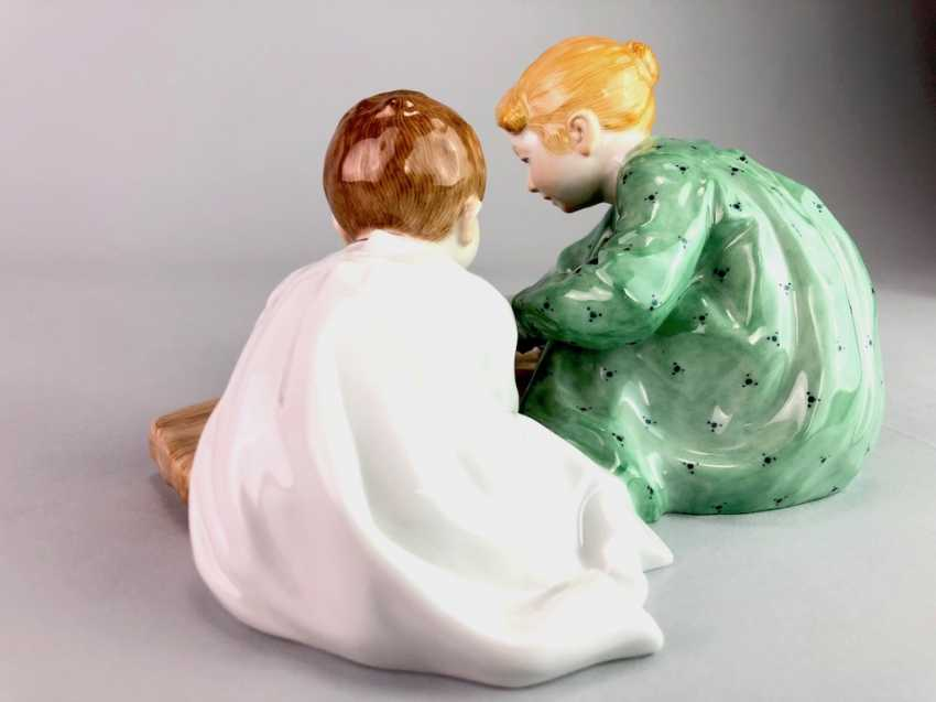 "Porcelain figurine: Hentschel child - ""Two children, sand forms the backend"". Meissen Porcelain, 1. Choice, very well. - photo 4"