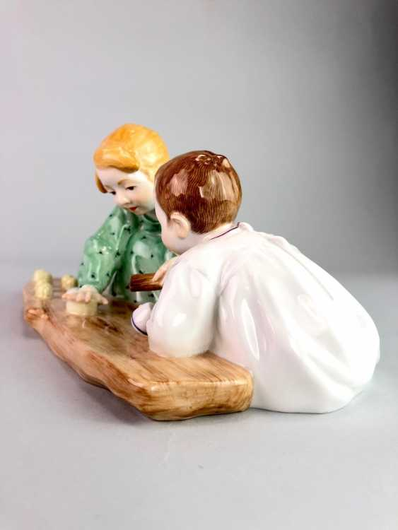 "Porcelain figurine: Hentschel child - ""Two children, sand forms the backend"". Meissen Porcelain, 1. Choice, very well. - photo 5"