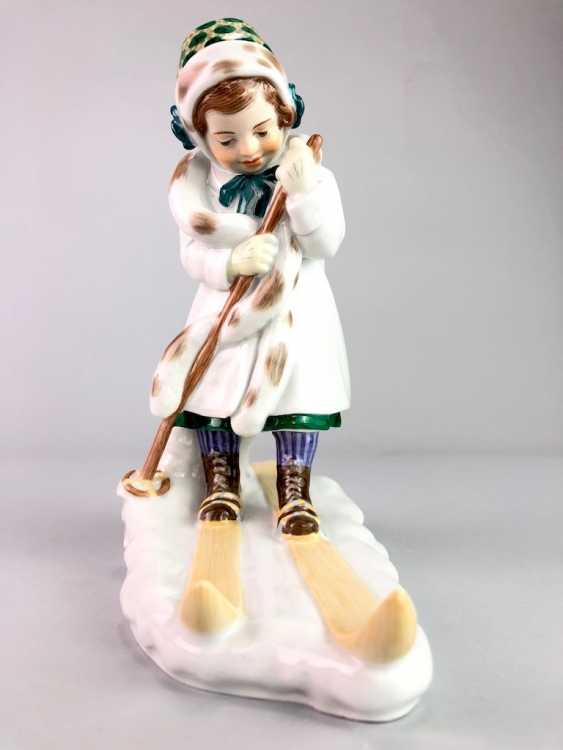 "Porcelain Figure ""Skier"". Paul Helmig. Meissen Porcelain, 1. Choice, very well. - photo 1"