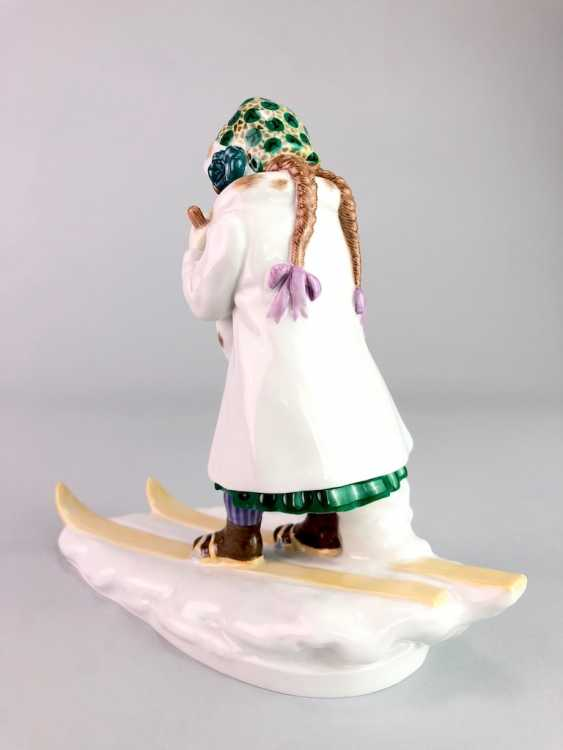 "Porcelain Figure ""Skier"". Paul Helmig. Meissen Porcelain, 1. Choice, very well. - photo 5"