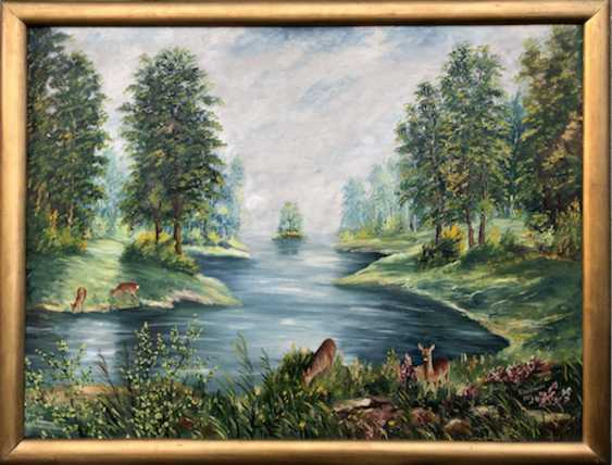 R. Widtmann: deer at the lake. Oil on hardboard in Golden frame. 1958. - photo 1